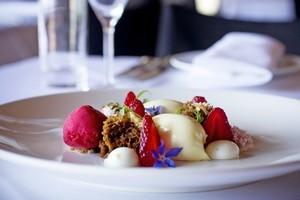 The white chocolate namelaka proved an entertaining dessert. Photo / Natalie Slade