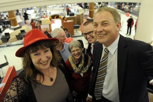 Labour leader Phil Goff with Dunedin South MP Clare Curran at Dunedin's Meridian Mall. Photo / Otago Daily Times