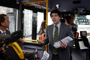 Green Party Leader Russel Norman (far L) and Green MP Gareth Hughes on the bus during the Green Party Auckland Transport Plan Launch. Photo / Sarah Ivey