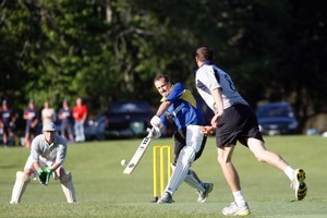 The Long Boxes' Steve Gallaugher hits for the boundary in a match against the Journeymen at Auckland Domain. Photo / Chris Loufte