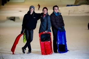 NZ's top freeskier Jossi Wells with Matteo Stella, 16 (left) and Jesse Greenslade, 22 (right). Photo / Dean Purcell