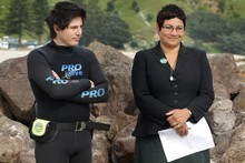 Green Party MP, Gareth Hughes and co-leader, Metiria Turei launched the party's oil spill policy on Mt Maunganui beach yesterday. Photo / Alan Gibson