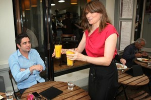 Gus Pickering is served by Lucy Lawless. Photo / Greg Bowker