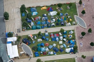 Aerial view of Occupy Auckland protestors. Photo / Brett Phibbs