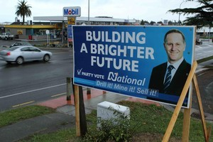 One of the defaced National Party billboards. Photo / supplied