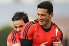 Zac Guildford and Sonny Bill Williams wrestle during training for the Rugby World Cup. Photo / AP