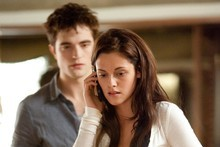 Edward (Robert Pattinson) and Bella (Kristen Stewart) make it down the aisle in Breaking Daen: Part 1. Photo / Supplied