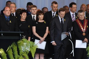Prime Minister John Key spoke at the national remembrance service for the Pike River miners in December last year, but will not give a speech at tomorrow's service. Photo / APN