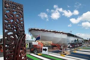 Construction of the Waka Maori at Te Wero Island at the Viaduct Harbour, Auckland. Photo / Richard Robinson