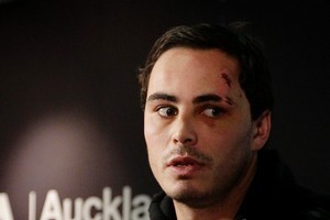 All Black Zac Guildford after arriving back from his Cook Island escapade. Photo / Sarah Ivey
