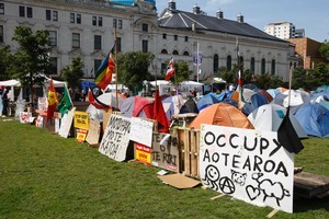 The Occupy Auckland protest in Aotea Square, Auckland has been asked to leave. Photo / Richard Robinson