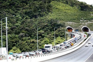 The toll road from Orewa to Puhoi on Sunday. Photo / Greg Bowker