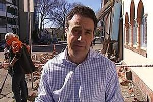 3 News presenter Hamish Clark during the Christchurch earthquake coverage. Photo / Supplied