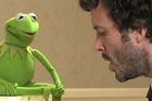 Kermit and Bret McKenzie duet on the song Life's a Happy Song. Photo / YouTube