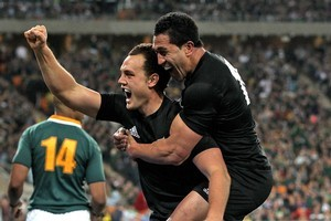 Israel Dagg celebrates after scoring the match-winning try against South Africa in Soweto last year. Photo / Getty Images