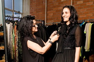 Madeleine Sami is fitted in her Zambesi dress for last week's Aftas by designer Elisabeth Findlay. Photo / Babiche Martens