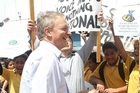 Phil Goff meets Kawerau Intermediate pupils during their protest against the plan to close their school. Photo /Getty Images