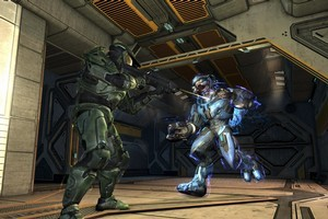 The Master Chief pops off a shot at a Covenant Elite in  Halo: Combat Evolved Anniversary.  Photo / Supplied