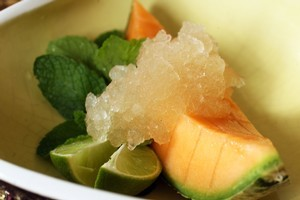 Melon with ginger ice. Photo / Janna Dixon