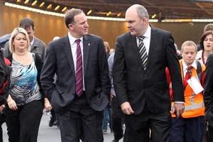 Prime Minister John Key and Transport Minister Steven Joyce. Photo / Janna Dixon