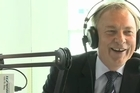 Labour party leader Phil Goff talks to Mike Hosking during the Newstalk ZB leaders breakfast.