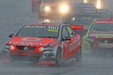 Craig Lowndes drives the Team Vodafone Holden during race 25 the Sandown Challenge. Photo / Getty Images