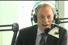 Labour party leader Phil Goff takes questions during the Newstalk ZB leaders breakfast.