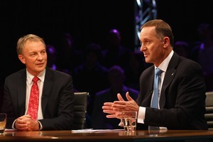 Phil Goff and John Key during tonight's debate. Photo / Getty Images