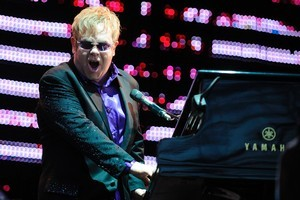 Elton John at Dunedin's Forsyth Barr Stadium last night. Photo / Craig Baxter