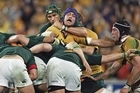 Wallaby Nathan Sharpe and Springbok Victor Matfield enjoyed epic battles. Photo / Getty Images
