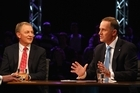 National Party Leader John Key (R) and Labour Party Leader Phil Goff (L) debate issues during the TVNZ Leader Debate. Photo / Getty Images