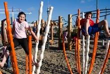 Milo and Maia Brown at the Wynyard Quarter playground. Photo / Natalie Slade