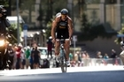 Kris Gemmell of New Zealand takes to the hills. Photo / Dean Purcell