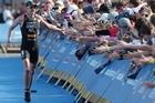 New Zealand triathlete Kris Gemmell celebrates winning the Men's Elite Auckland Triathlon ITU World Cup event in Auckland. Photo / Greg Bowker