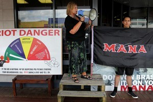 Mana Party candidate Sue Bradford promises to make a change for her supporters outside the offices of Work and Income in central Rotorua yesterday. Photo / Alan Gibson