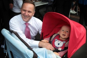 John Key was out in Mission Bay yesterday, where he met Harry Baxter. Photo / Greg Bowker