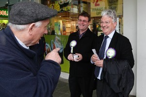 United Future leader Peter Dunne campaigning in Johnsonville today. Photo / Mark Mitchell