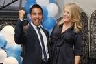Tauranga National Party MP Simon Bridges with his wife Natalie Bridges celebrate his win. Photo / Mark McKeown