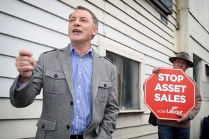 The Labour Party has launched its campaign protesting the National Party's plan to sell state assets. Photo / Natalie Slade