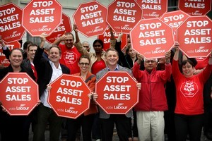 Labour's campaign protesting the National Party's plan to sell state assets. Photo / Natalie Slade
