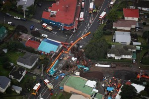 The scene in Onehunga where a gas explosion took place. Photo / Amos Chapple