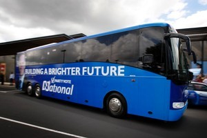 National leader John Key's final two days of the election campaign have kicked off with a whistle-stop bus tour of the North Island. Photo / Richard Robinson.