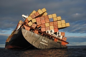 Another 21 containers of undeclared dangerous goods have been found on board the stricken cargo ship Rena. Photo / NZDF