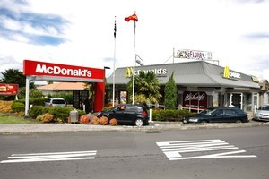 A teen was stabbed while walking through a carpark at a McDonald's restaurant yesterday. Photo / Steven McNicholl