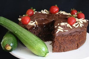 Zucchini can be grated into a rich dark-chocolate cake mixture for a delectable treat. Photo / Stuart Whitaker