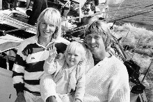 Lady Pippa Blake, and 21-month-old Sarah Jane joined Sir Peter Blake on the Round-the-World race yacht Lion New Zealand in the Bay of Islands in 1985 for the final leg of a seven-week cruise of NZ ports. Photo / NZ Herald