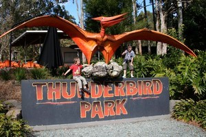 A giant pterosaur greets visitors at the entrance to the Thunderbird Mine. Photo / Alex Tully