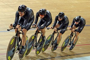 Team New Zealand compete during the Men's Team Pursuit. Photo / Getty Images