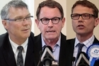 From left, Labour's David Parker, Act's John Banks, and National's Paul Goldsmith. Photos / File