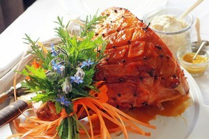 Decorate your ham with herbs and flowers from your own garden. Photo / Doug Sherring